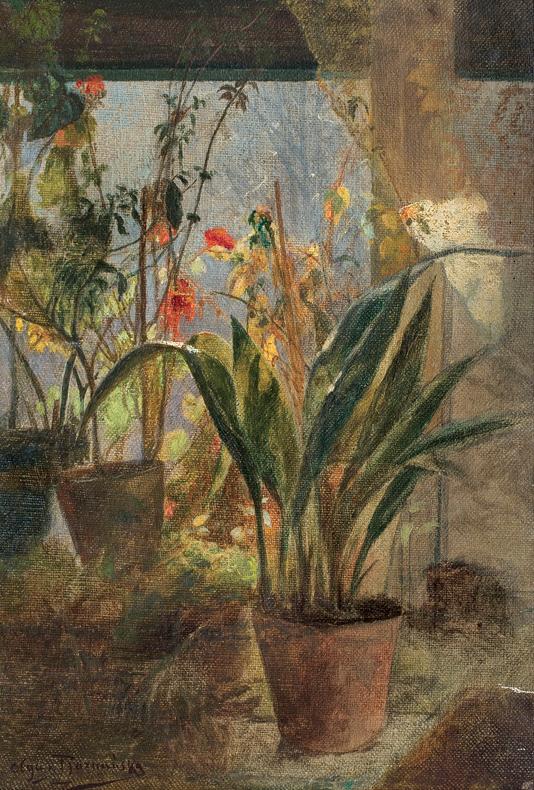 """Olga Boznańska """"Kwiaty w oknie"""", przed 1890 rokiem, źródło: Agra-Art"""