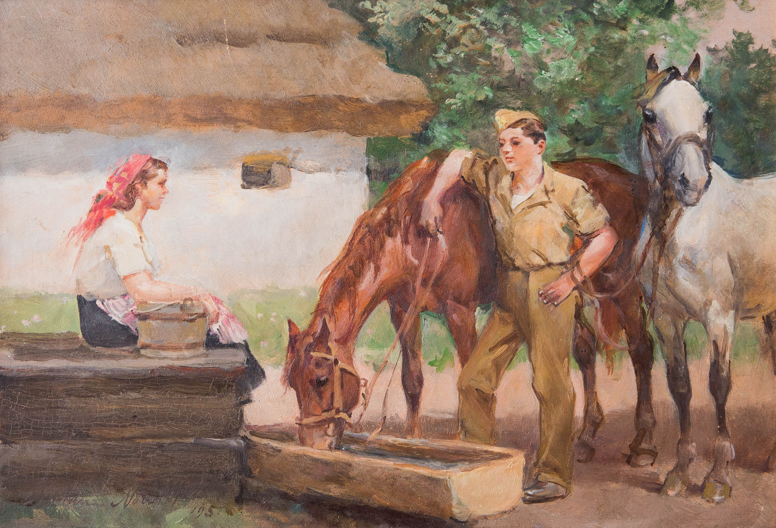 """Marian Nowicki """"Spotkanie"""", 1951 rok, źródło: Salon Dzieł Sztuki Connaisseur"""