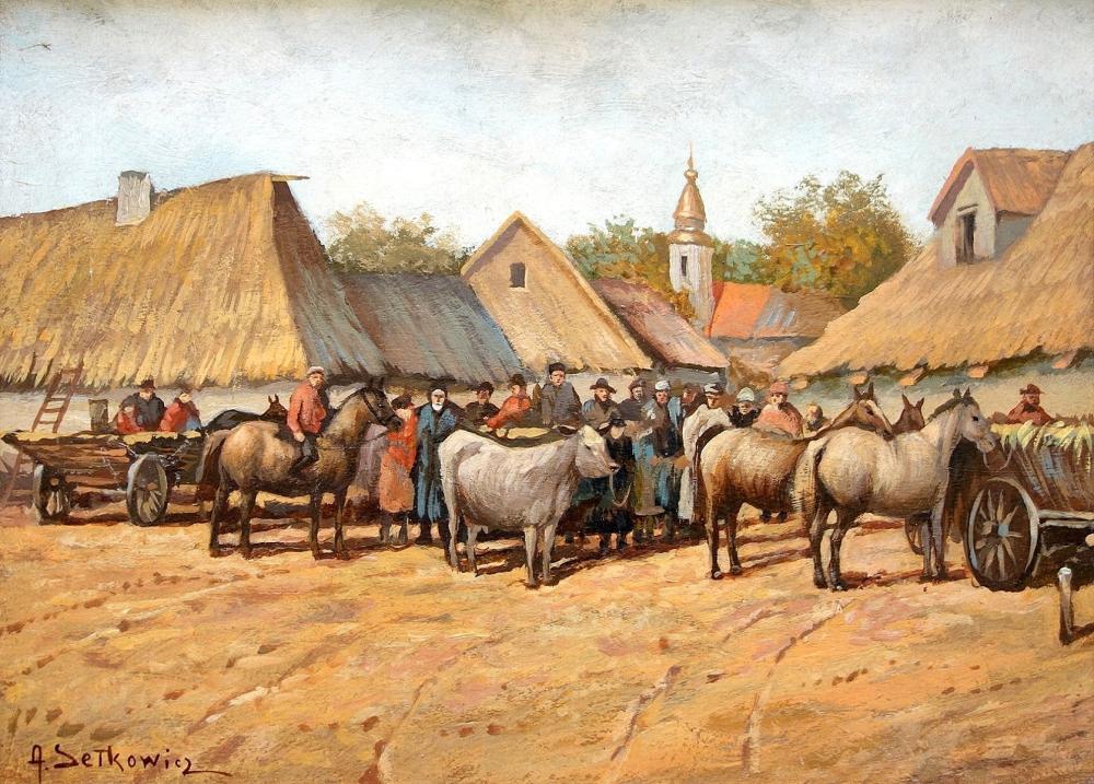 """Adam Setkowicz (1876-1945) """"Koński targ"""", źródło: Yair Art Gallery"""