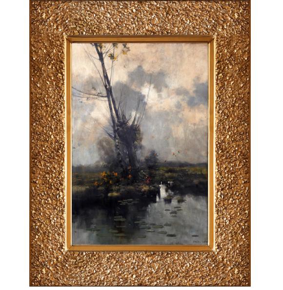 Obraz Ludwika Stasiaka w ramie wyklejanej złoconymi węgielkami, źródło: Salon Dzieł Sztuki Connaisseur
