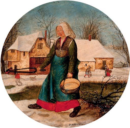 """Pieter Brueghel Młodszy """"Kobieta w zimowym krajobrazie"""", źródło:  Christie's"""