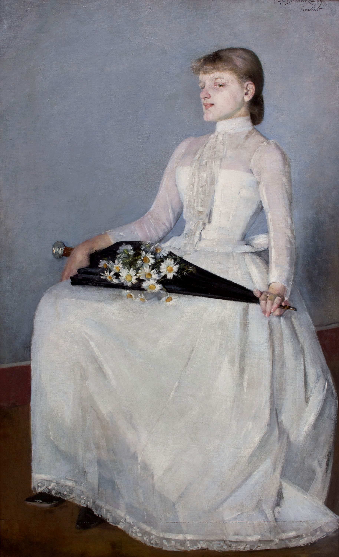 """Olga Boznańska """"Ze spaceru – Dama w białej sukni"""", 1889 rok, źródło: Muzeum Narodowe w Krakowie"""