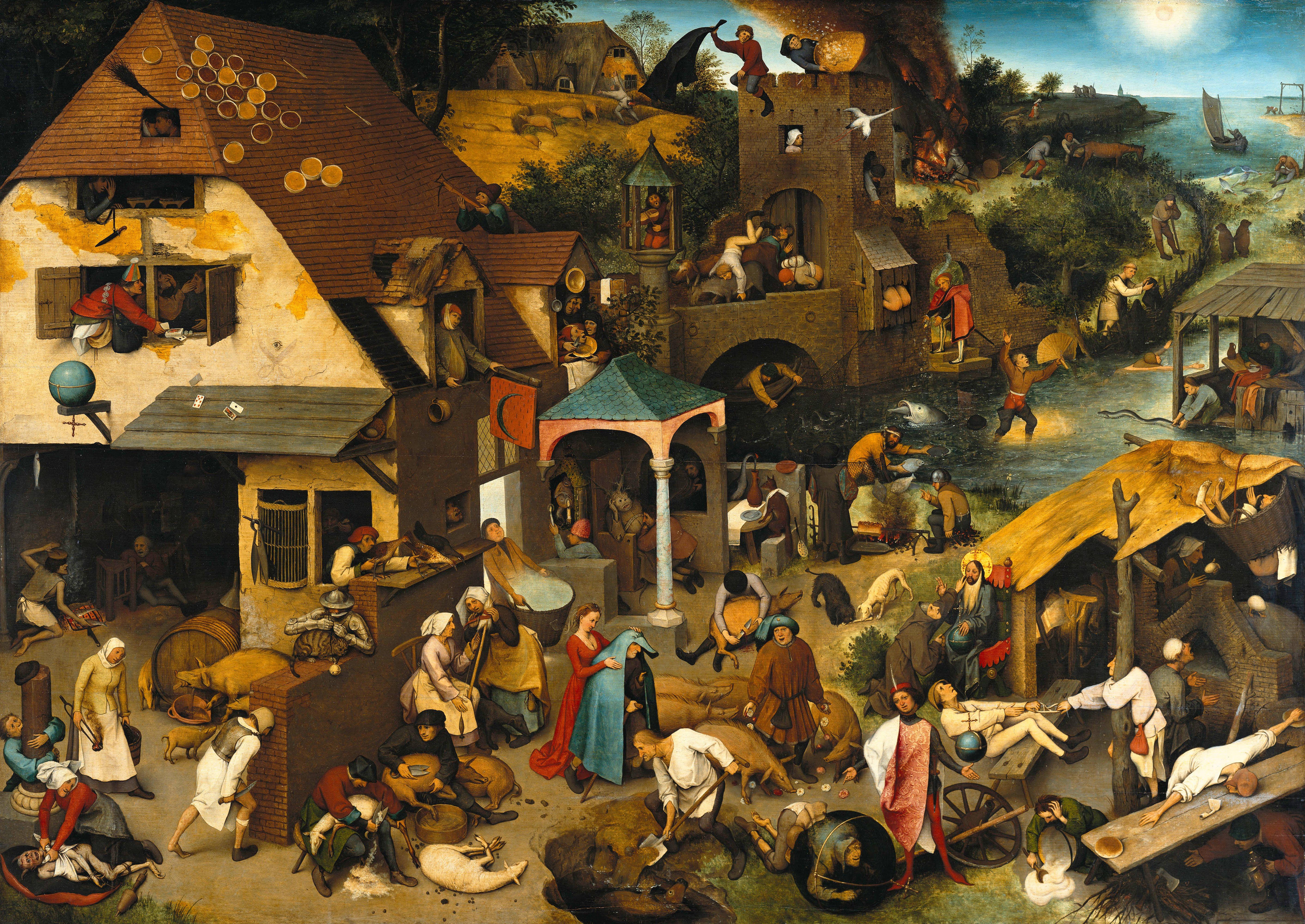 """Pieter Brueghel Starszy """"Przysłowia niderlandzkie"""", źródło:  Gemäldegalerie Berlin"""