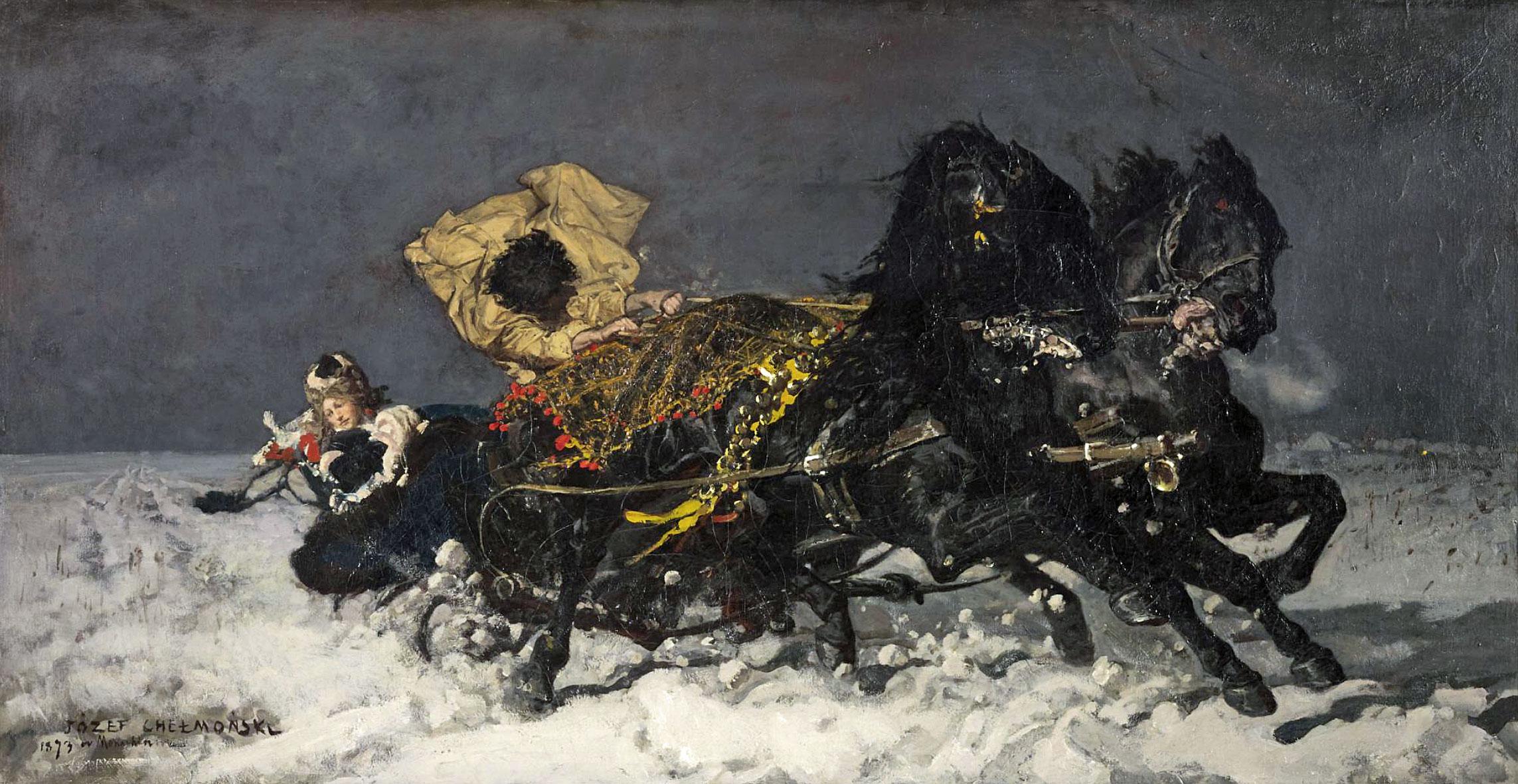 """Józef Chełmoński (1849-1914) """"Przejażdżka o północy"""", źródło: Sotheby's"""