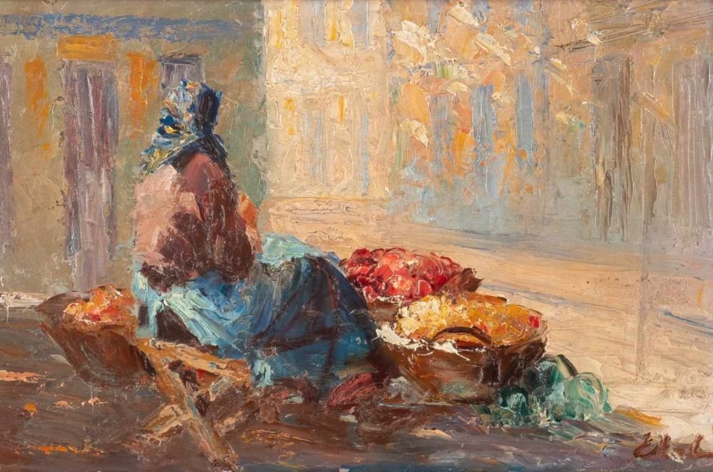 """Erno Erb (1878-1943) """"Lwowska przekupka"""", źródło: Hargesheimer Kunstauktionen Düsseldorf"""