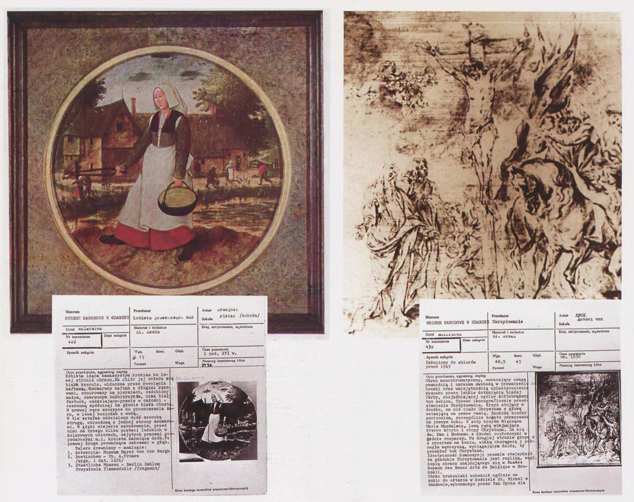 """Karty muzealne pozostałe po skradzionych obrazach, źródło: """"Cenne, bezcenne, utracone"""",  2008, Nr 4 (57)"""