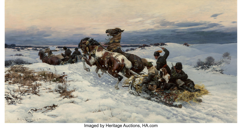 """Bohdan Kleczyński (1851-1916) """"Powrót z polowania"""", źródło: Heritage Auctions"""