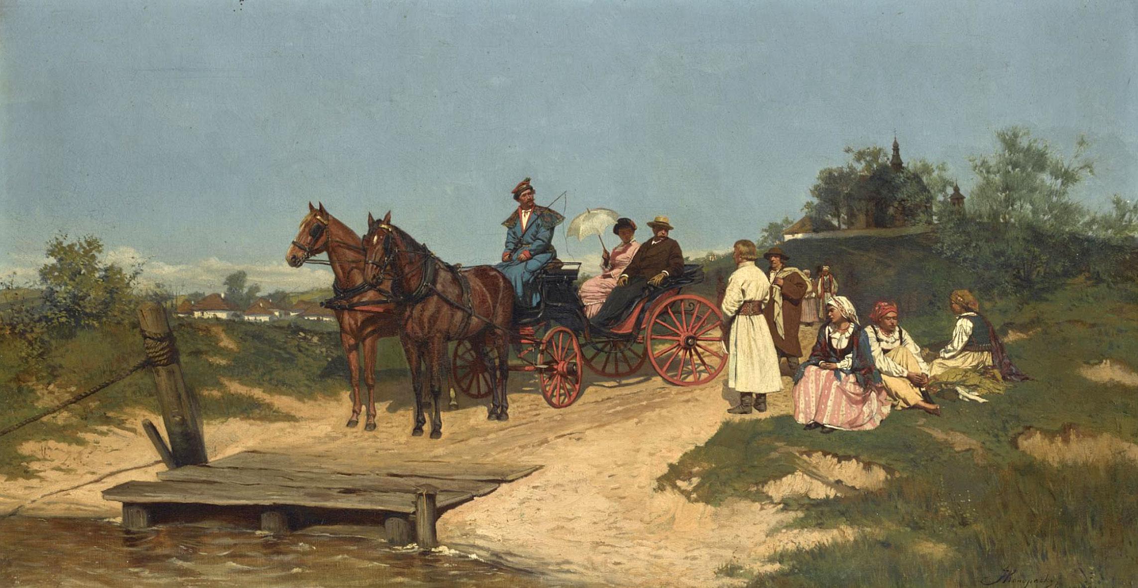 """Jan Konopacki (1856-1896) """"W oczekiwaniu na prom"""", źródło: Sotheby's"""