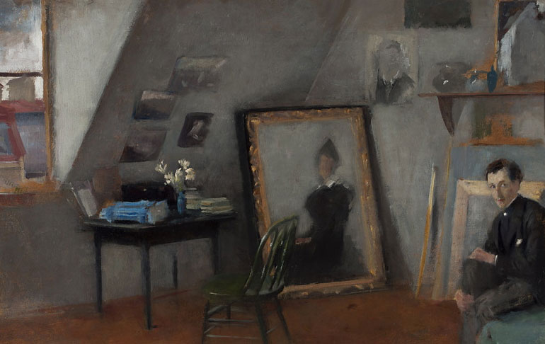 """Olga Boznańska """"Wnętrze pracowni"""", 1892 rok, źródło: Muzeum Narodowe w Warszawie"""