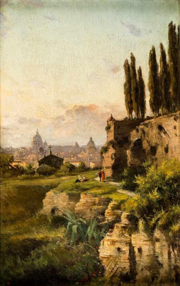 """Józef Sierakowski (1765-1831) """"Widok z Forum Romanum na Bazylikę św. Piotra"""", źródło: Auktionscontor Frank Peege"""