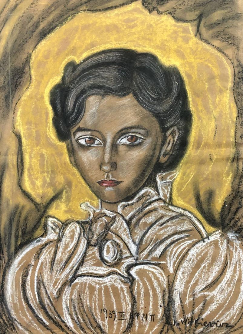 """Stanisław Ignacy Witkiewicz (1885-1939) """"Portret kobiety"""", źródło: Finger Lakes Estate & Auction"""