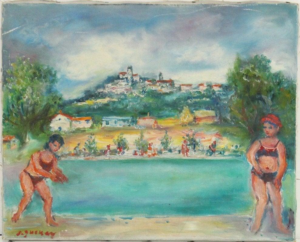 "Jacques Zucker (1900-1981) ""Kąpiel nad jeziorem"",  źródło: Donny Malone Auctions"