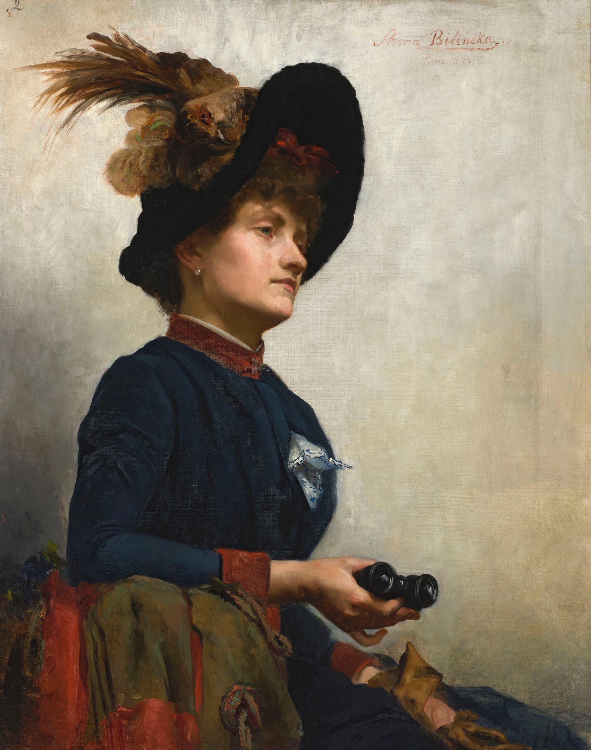 """Anna Bilińska-Bohdanowiczowa """"Portret damy z lornetką"""", 1884 rok, źródło: Muzeum Narodowe w Warszawie"""