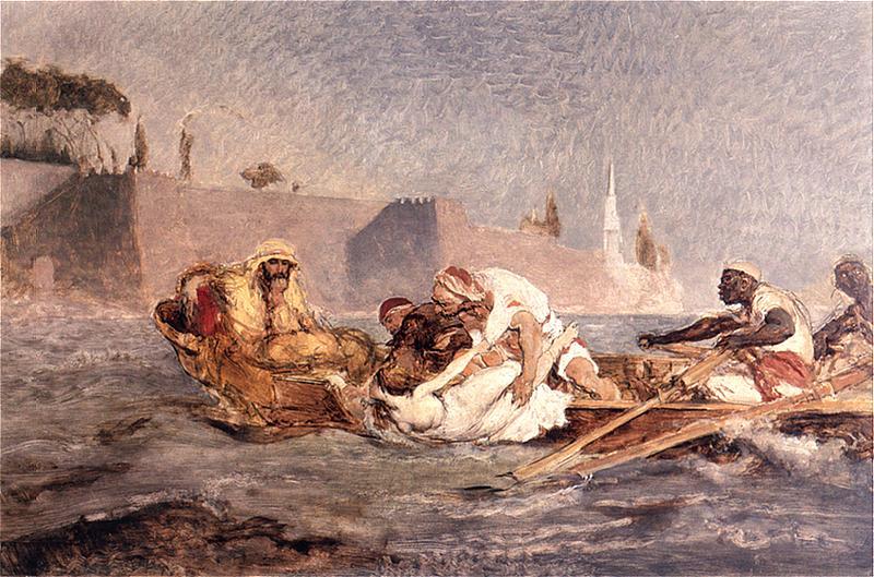 """Jan Matejko """"Utopiona w Bosforze (Hassan topi niewierną żonę)"""", 1880 rok, źródło: Muzeum Narodowe we Wrocławiu"""