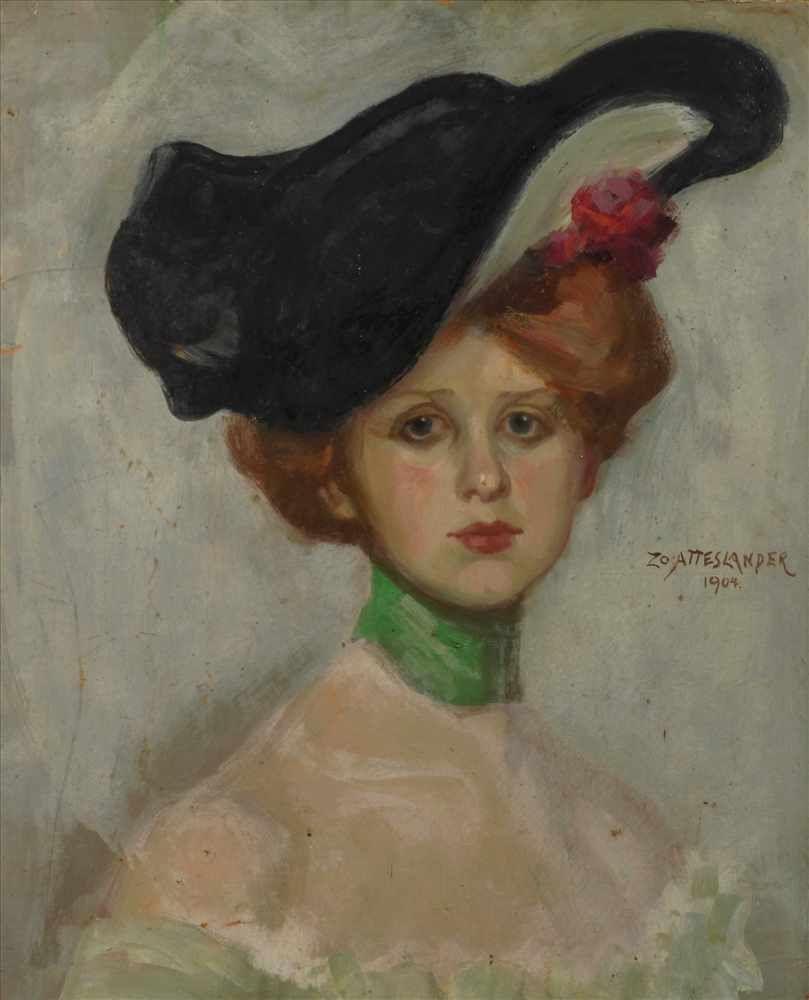 "Zofia Atteslander (1874-1928) ""Portret damy w kapeluszu"", źródło: Auktionshaus Mehlis"
