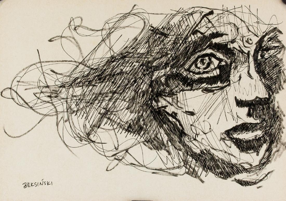 """Artysta Nierozpoznany mający imitować Zdzisława Beksińskiego (1929-2005) """"Portret kobiety"""", źródło: 888 Auctions"""