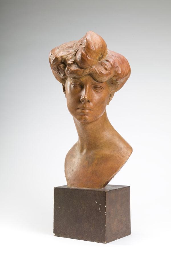 """Konstanty Laszczka """"Głowa Julianowej Fałatowej (Portret Marii Comello), źródło: Desa Unicum"""