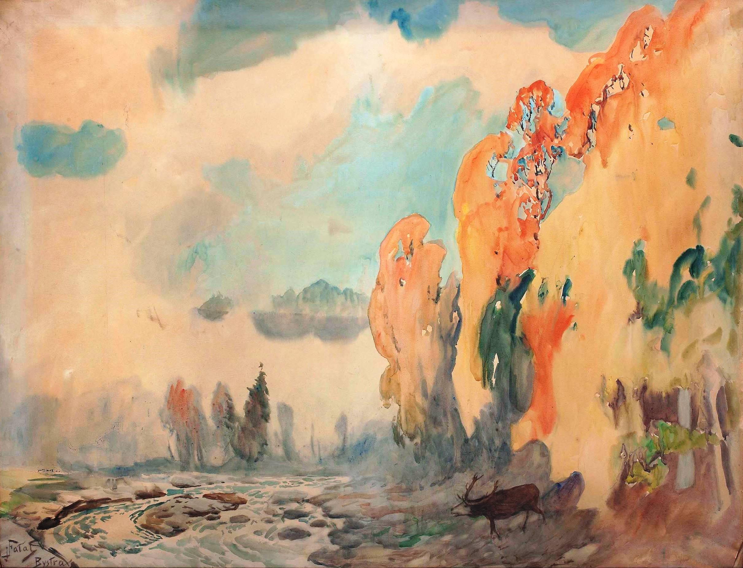 """Julian Fałat """"Pejzaż jesienny z Bystrej"""", po 1902 roku, źródło: Muzeum Narodowe w Warszawie"""