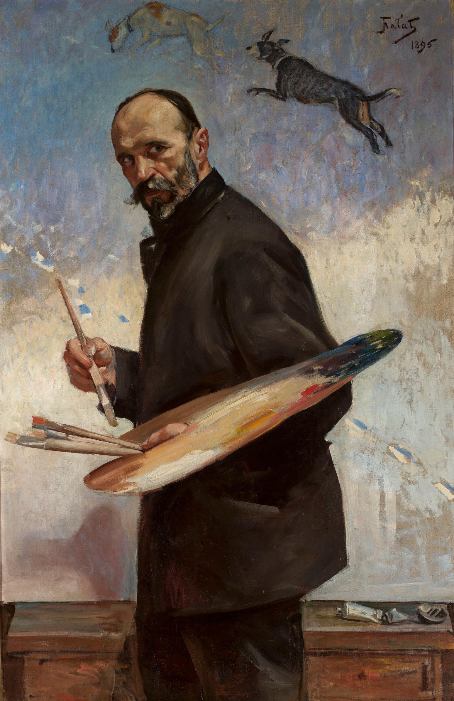 """Julian Fałat """"Autoportret z paletą"""", 1896 rok, źródło: Muzeum Narodowe w Warszawie"""