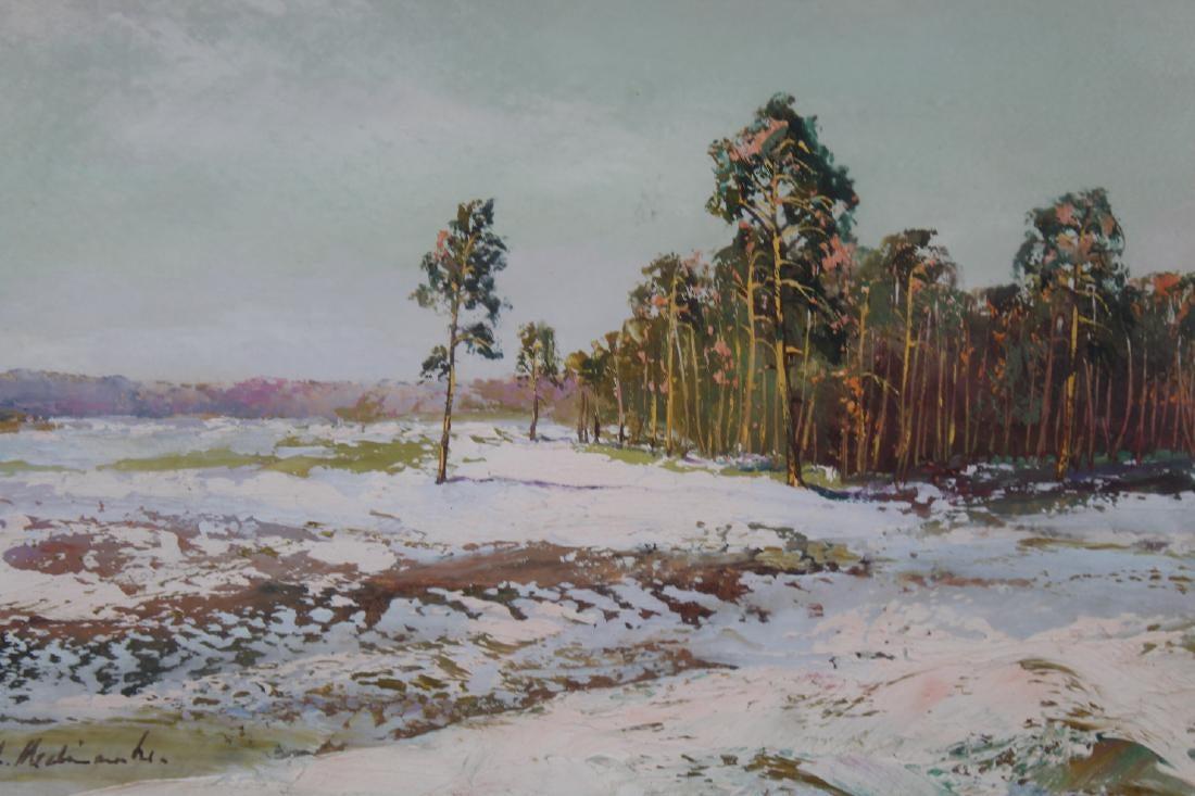 """Apoloniusz Kędzierski (1861-1939) """"Zachód pod lasem"""", źródło: Helmuth Stone Gallery"""
