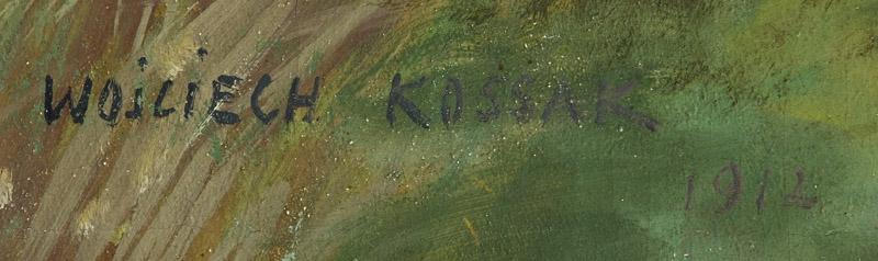 Oryginalna sygnatura Wojciecha Kossaka z pełnym imieniem i nazwiskiem pisana drukowanymi literami, źródło: Desa Unicum
