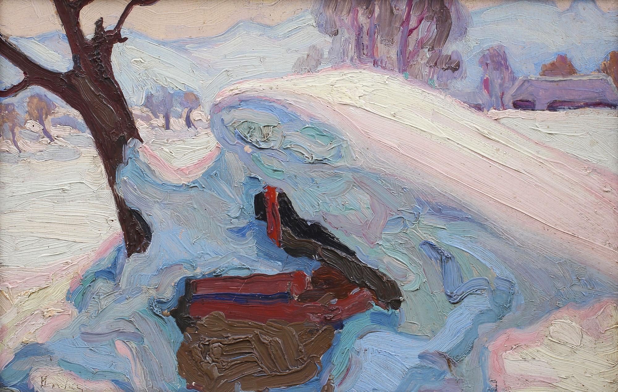 Impasty nakładane pędzlem na obrazie Emila Krchy, źródło: Salon Dzieł Sztuki Connaisseur