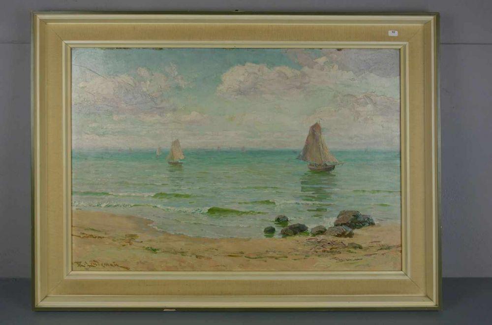 "Emil Lindeman (1894-1945) ""Żaglówki na morzu"", źródło: Auktionshaus Rheine"
