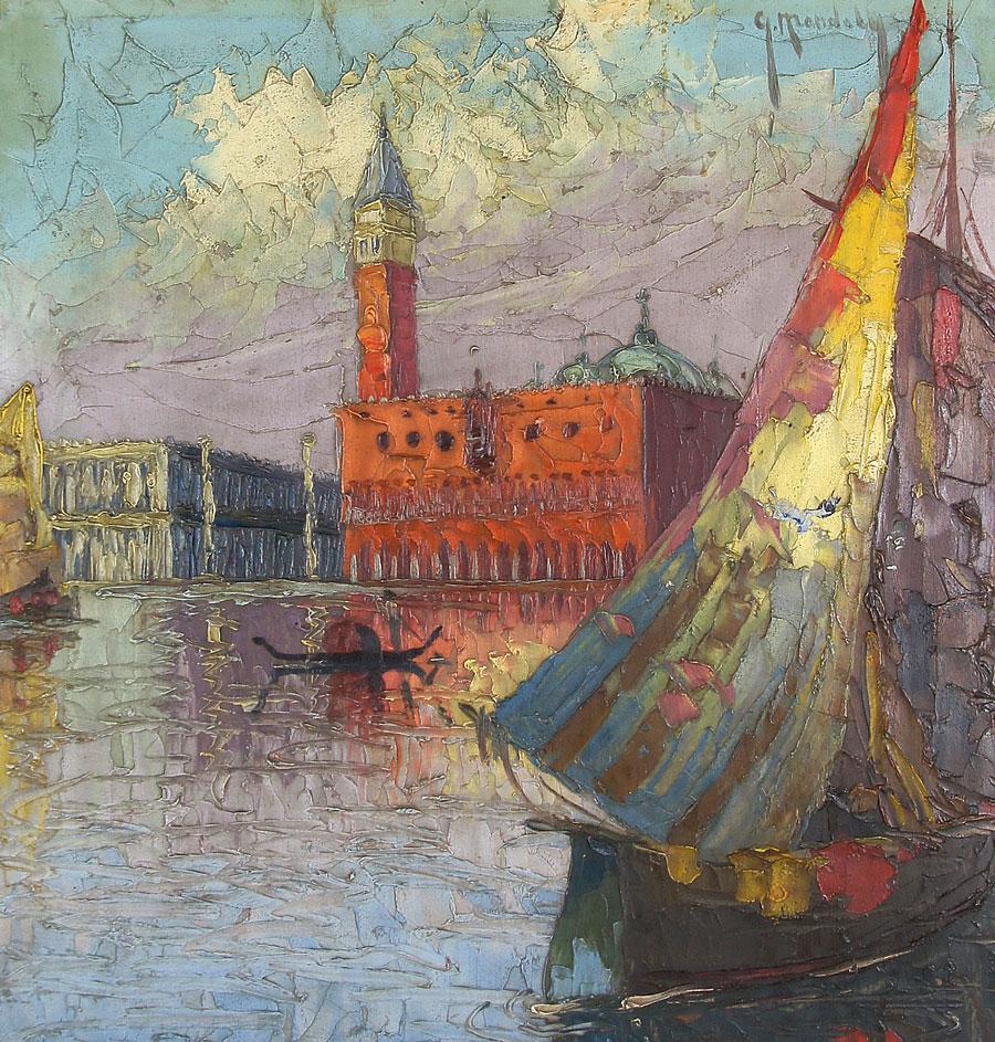 Impasty nakładane szpachlą na obrazie Grzegorza Mendoly'ego, źródło: Salon Dzieł Sztuki Connaisseur