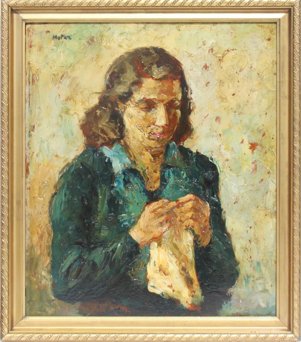 """Mela Muter (1876-1967) """"Portret kobiety z chusteczką"""", źródło: Semley Auctioneers"""