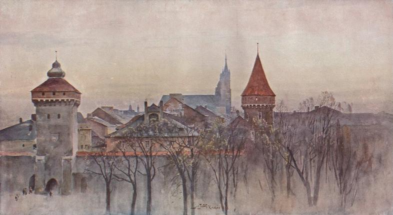 """Julian Fałat """"Widok Krakowa"""", 1898 rok, źródło: Państwowe Zbiory Sztuki Kraków - Wawel (dzieło zaginione)"""