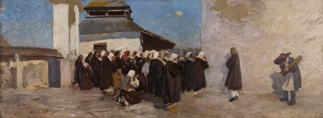 """Julian Fałat """"Przed cerkwią"""", ok. 1899 roku, źródło: Muzeum Narodowe w Krakowie"""
