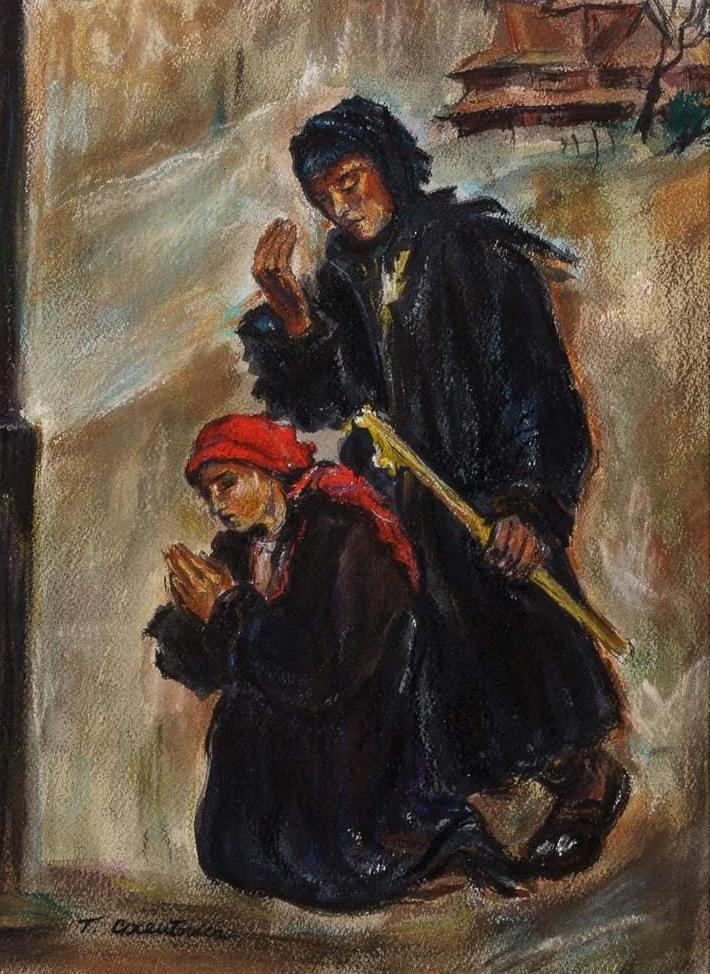 """Teodor Axentowicz (1859-1938) """"Na gromniczną"""", źródło: Leslie Hindman"""