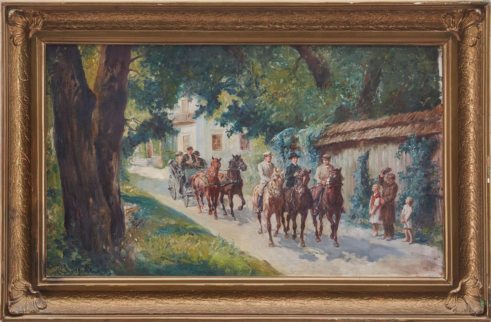 """Stanisław Kaczor Batowski (1866-1946) """"Wyjazd z dworu"""", źródło: Uppsala Auktionskammare"""