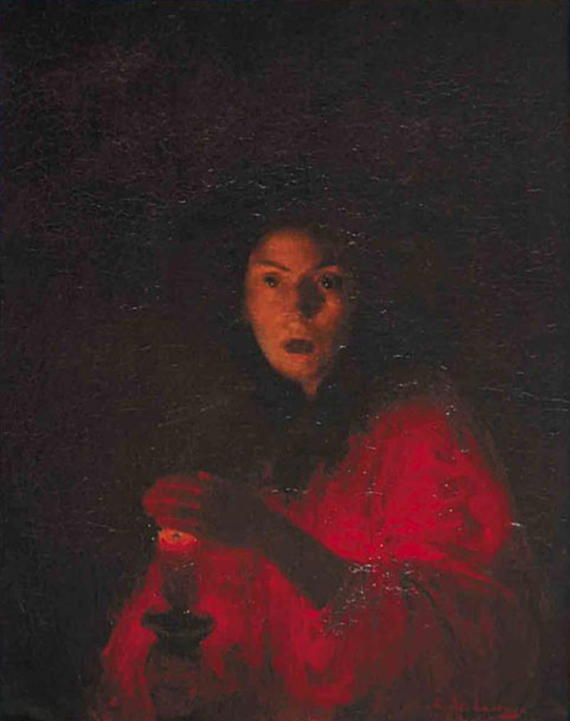 """Ludwik de Laveaux """"Przestrach (Strach / Trwoga / Judyta / Lady Makbet)"""", 1890 rok, źródło: własność prywatna"""
