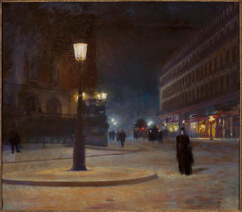 """Ludwik de Laveaux """"Opera paryska w nocy"""", 1892-1893 rok, źródło: Muzeum Narodowe w Warszawie"""