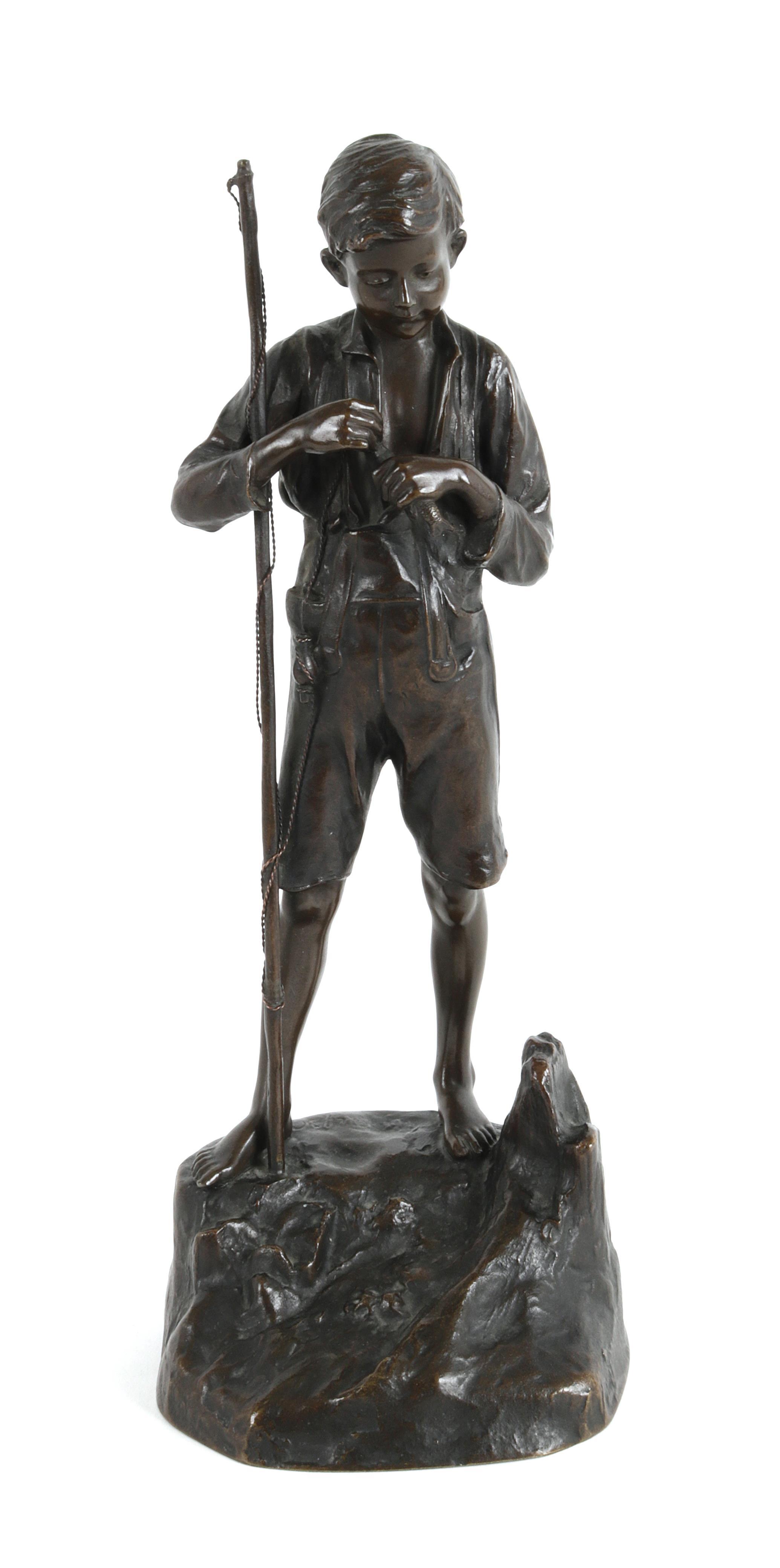"""Franciszek Józef Kucharzyk (1880-1930) """"Młody wędkarz"""", źródło: Dorotheum"""
