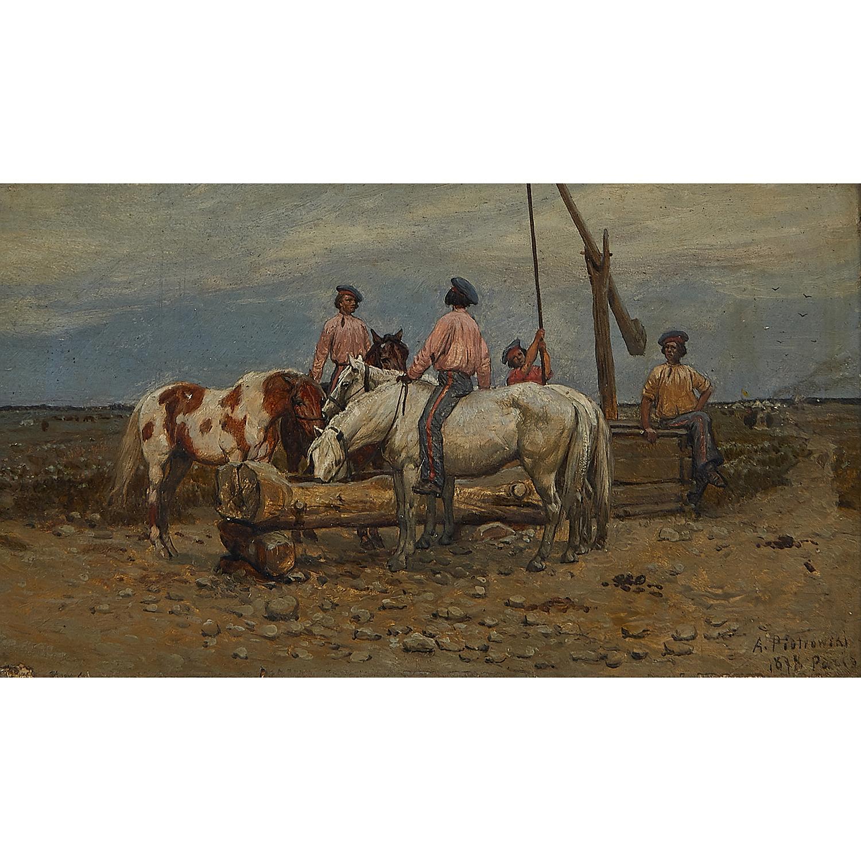 """Antoni Piotrowski (1853-1924) """"Jeźdźcy przy wodopoju"""", źródło: Toomey & Co. Auctioneers"""