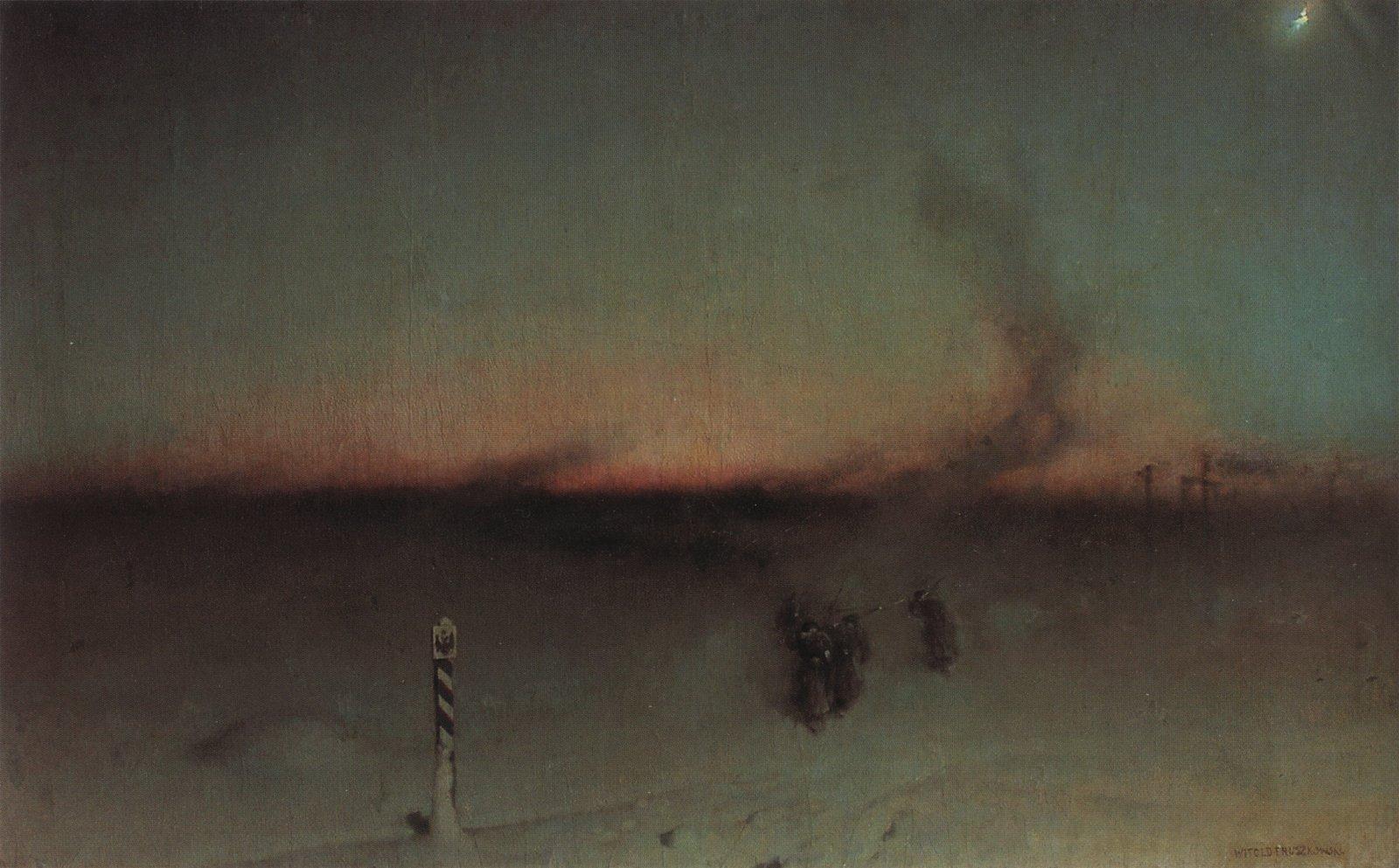 """Witold Pruszkowski """"Na zesłanie w Sybir"""", lata 1893-1894, źródło: Lwowska Galeria Sztuki"""