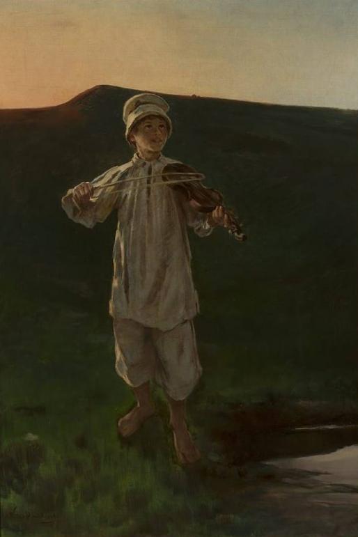 """Witold Pruszkowski """"Pastuszek"""" z tryptyku """"Zaczarowane skrzypce"""", 1894-1896, źródło: Muzeum Narodowe w Warszawie"""