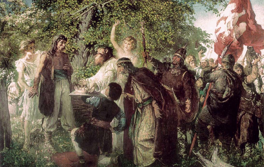 """Witold Pruszkowski """"Ofiarowanie korony Piastowi"""", lata 1872-1875, źródło: depozyt w MPPP w Gnieźnie"""