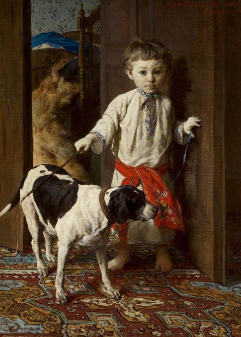 """Witold Pruszkowski """"Portret syna artysty z psem"""", 1881 rok, źródło: Muzeum Narodowe w Warszawie"""