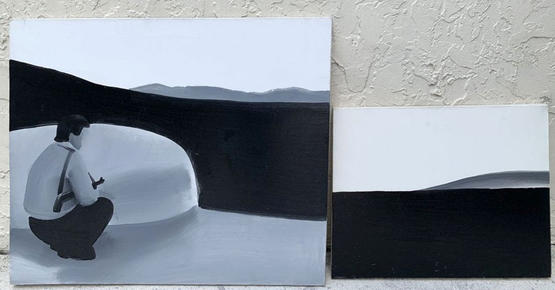 """Wilhelm Sasnal (1972- ) """"Dyptyk - Czeczenia"""", źródło: Bill Hood & Sons Art & Antique Auctions"""
