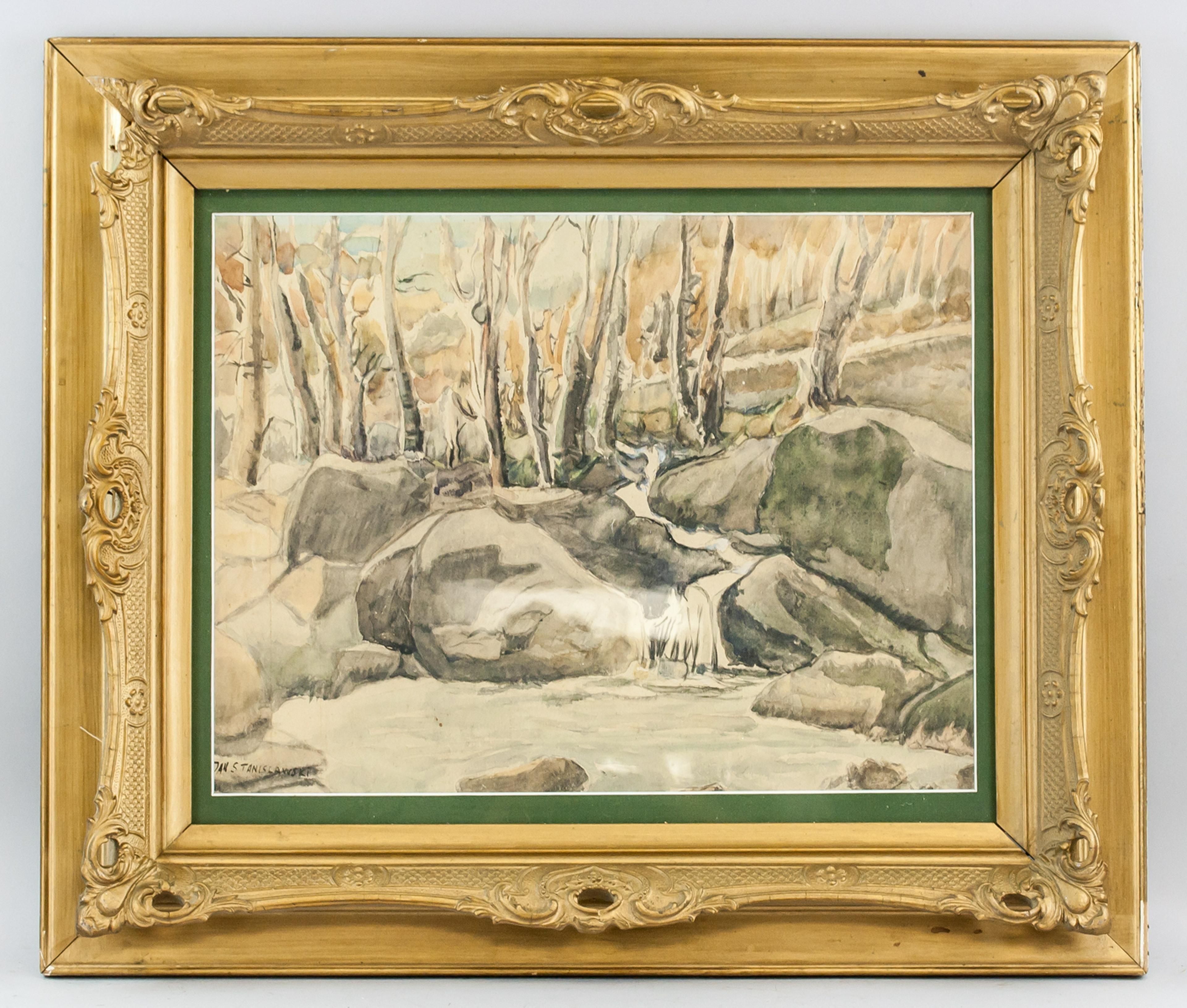 """Jan Stanisławski (1860-1907) """"Leśny strumień"""", źródło: 888 Auctions"""
