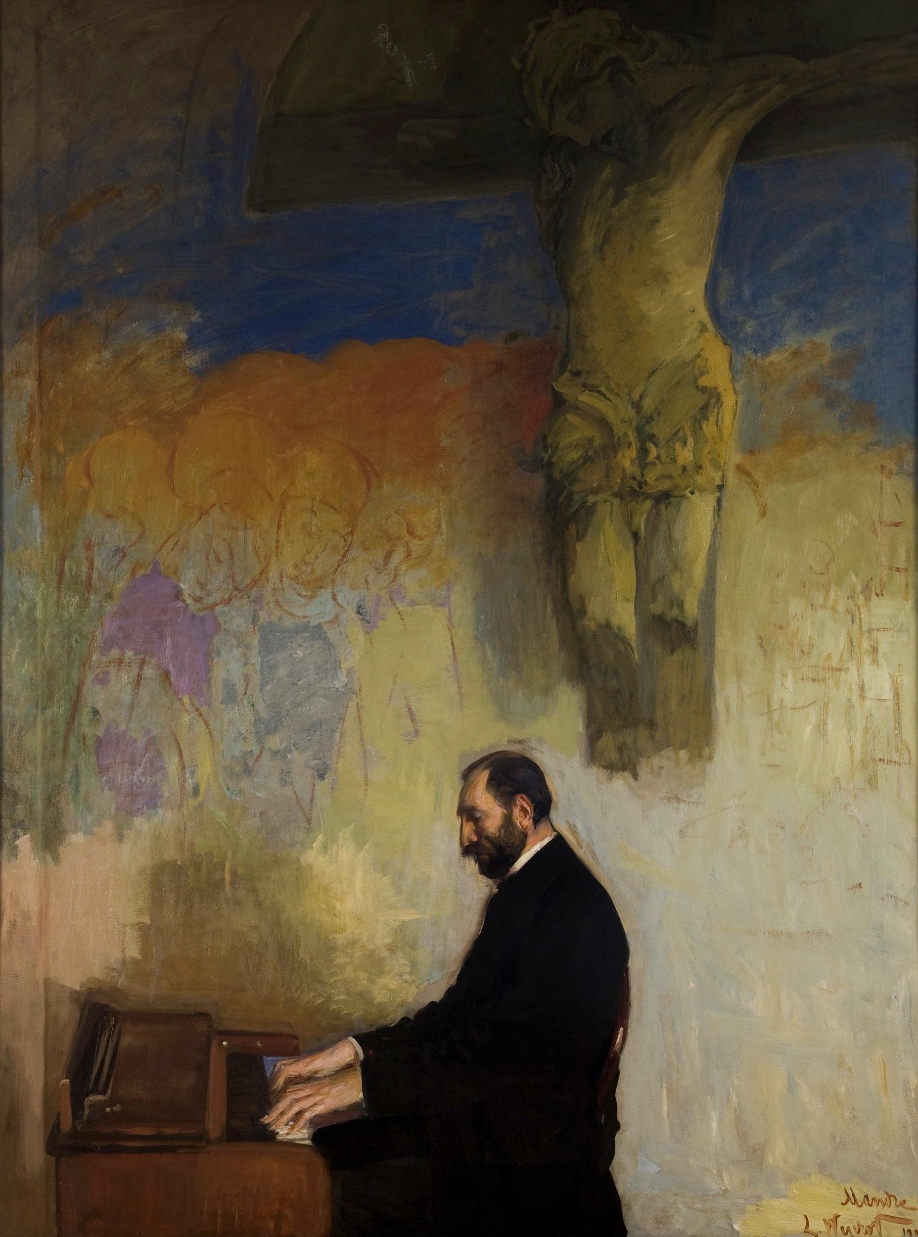 """Leon Wyczółkowski """"Feliks Jasieński przy organach"""", 1902 rok, źródło: Muzeum Narodowe w Krakowie"""