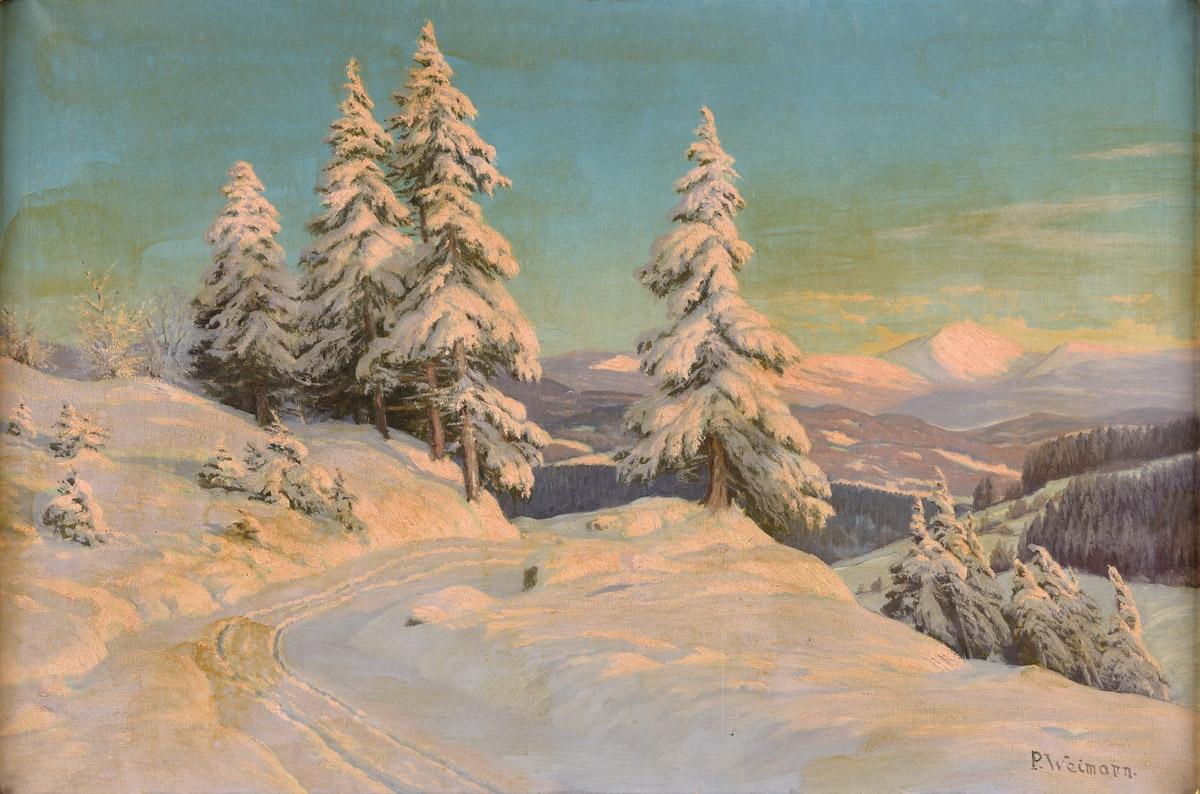 """Paul Weimann (1867-1945) """"Zimowy pejzaż z widokiem Śnieżki"""", źródło: Duesseldorfer Auktionshaus"""