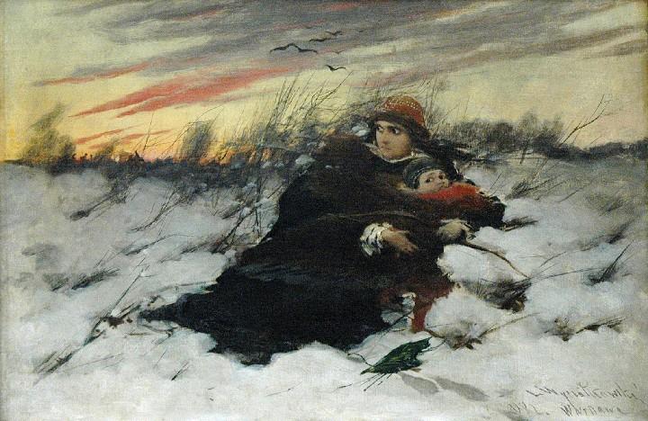 """Leon Wyczółkowski """"Ucieczka Maryny Mniszchówny z synem"""", 1882 rok, źródło: Rempex"""