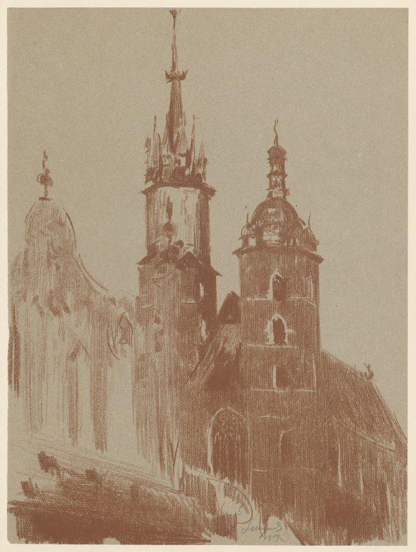 """Leon Wyczółkowski """"Kościół Panny Marii w Krakowie"""", 1904 rok, źródło: Muzeum Narodowe w Warszawie"""