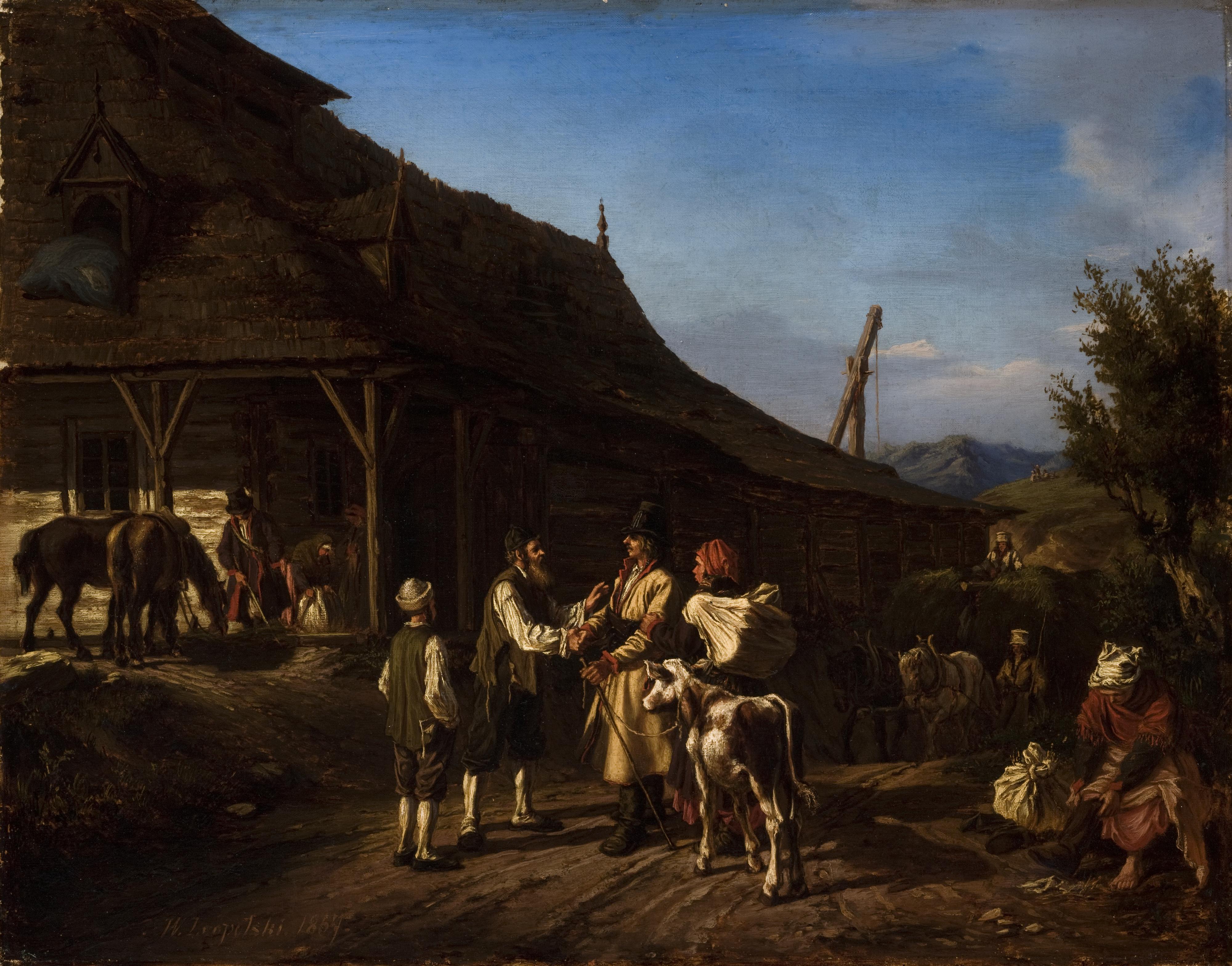 """Wilhelm Leopolski """"Scena przed karczmą"""", 1867 rok, źródło: Muzeum Narodowe w Krakowie"""