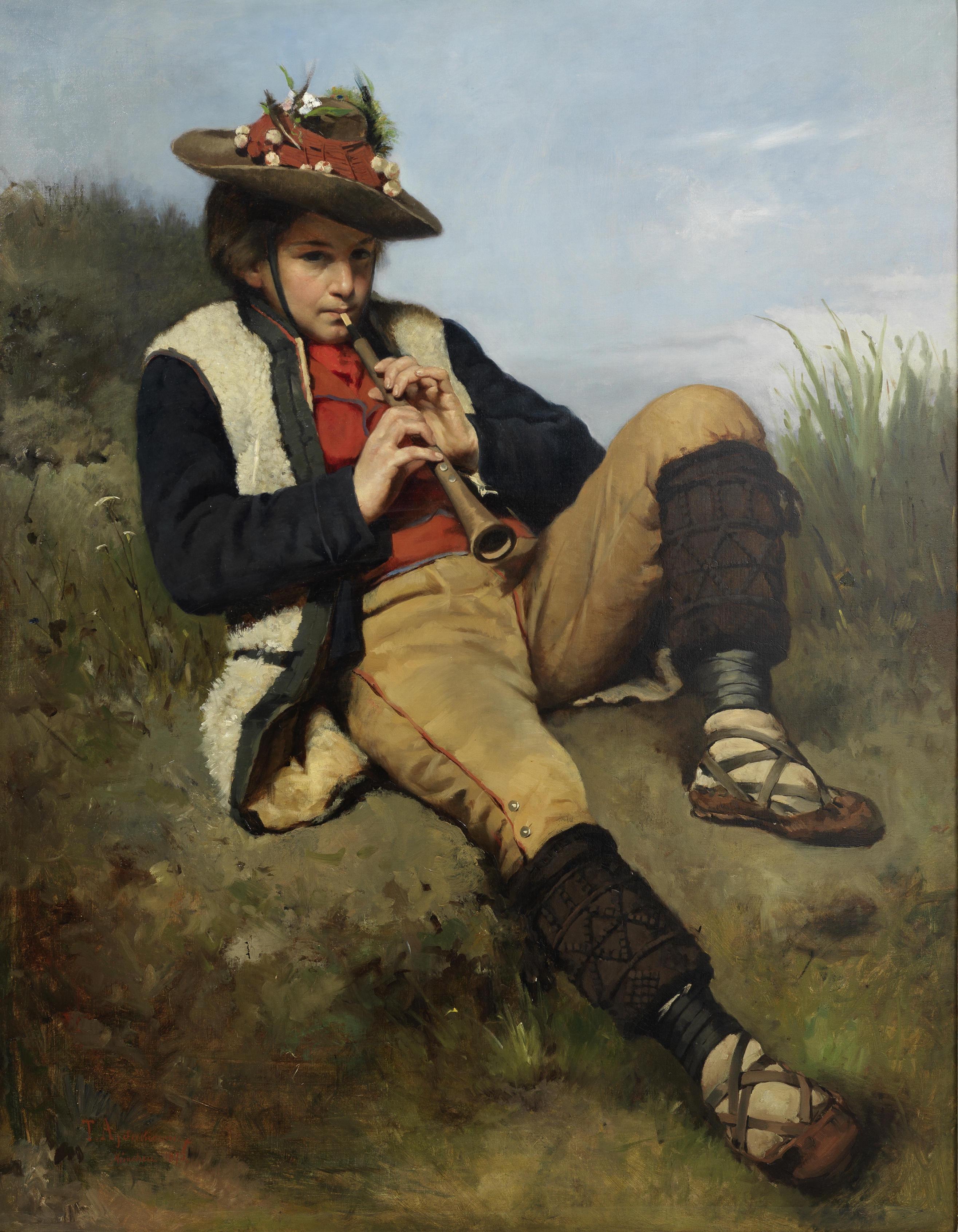 """Tadeusz Ajdukiewicz (1852-1916) """"Chłopiec grający na flecie"""", źródło: PR Collectibles"""