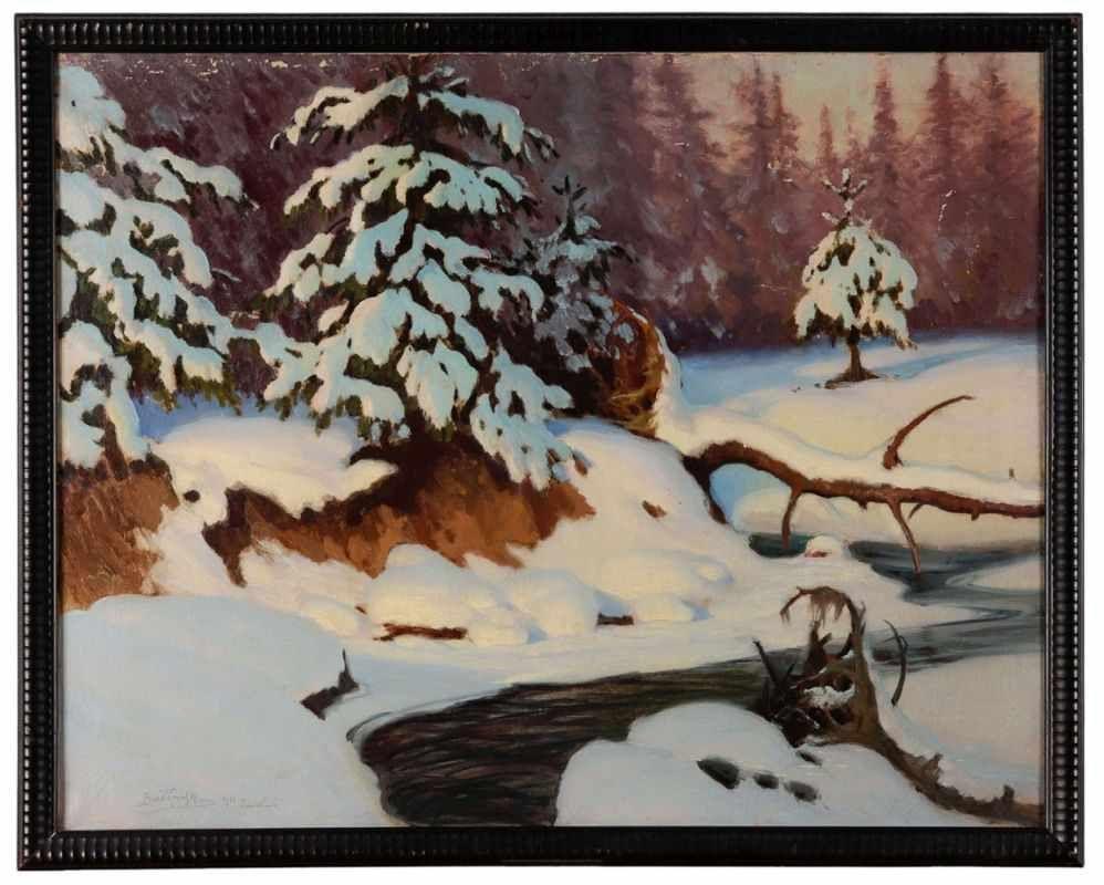 "Roman Bratkowski (1869-1954) ""Zimowy pejzaż z potokiem"", źródło: Kunst- und Auktionshaus Wilhelm M. Döbritz"
